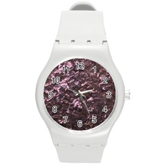 Pink Rainbow Shimmering Mother of Pearl Round Plastic Sport Watch (M)