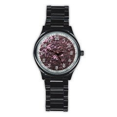 Pink Rainbow Shimmering Mother of Pearl Stainless Steel Round Watch