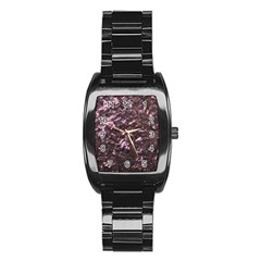 Pink Rainbow Shimmering Mother of Pearl Stainless Steel Barrel Watch