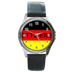 Rottweiler Name On Flag Round Metal Watch
