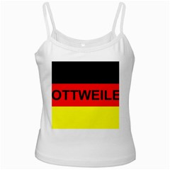 Rottweiler Name On Flag White Spaghetti Tank