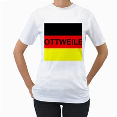 Rottweiler Name On Flag Women s T-Shirt (White) (Two Sided)