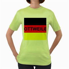 Rottweiler Name On Flag Women s Green T-Shirt
