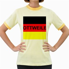 Rottweiler Name On Flag Women s Fitted Ringer T-Shirts