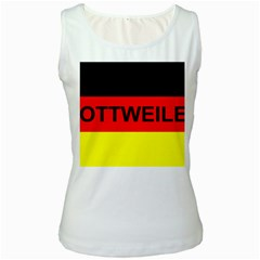 Rottweiler Name On Flag Women s White Tank Top