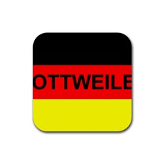 Rottweiler Name On Flag Rubber Coaster (Square)