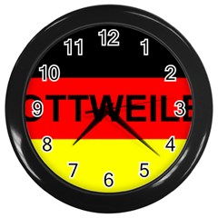 Rottweiler Name On Flag Wall Clocks (Black)