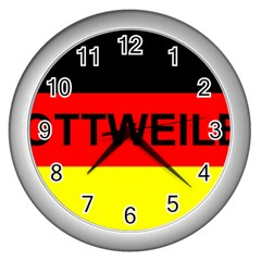 Rottweiler Name On Flag Wall Clocks (Silver)
