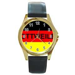 Rottweiler Name On Flag Round Gold Metal Watch