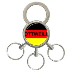Rottweiler Name On Flag 3-Ring Key Chains