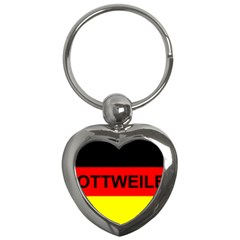 Rottweiler Name On Flag Key Chains (Heart)