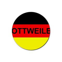 Rottweiler Name On Flag Rubber Round Coaster (4 pack)