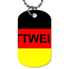 Rottweiler Name On Flag Dog Tag (Two Sides)