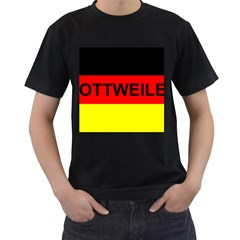 Rottweiler Name On Flag Men s T-Shirt (Black) (Two Sided)