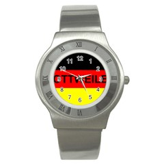 Rottweiler Name On Flag Stainless Steel Watch