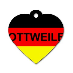 Rottweiler Name On Flag Dog Tag Heart (One Side)