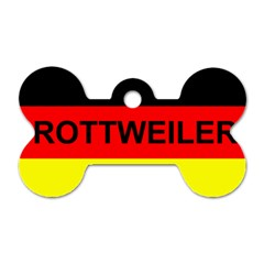 Rottweiler Name On Flag Dog Tag Bone (Two Sides)
