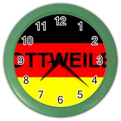 Rottweiler Name On Flag Color Wall Clocks