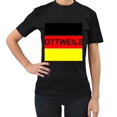 Rottweiler Name On Flag Women s T-Shirt (Black)
