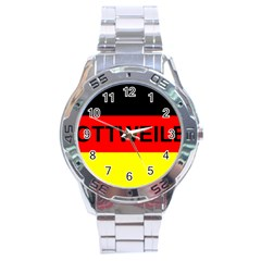 Rottweiler Name On Flag Stainless Steel Analogue Watch