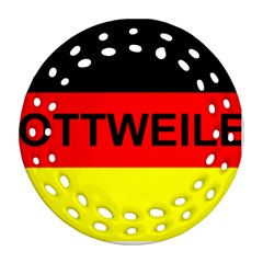 Rottweiler Name On Flag Round Filigree Ornament (Two Sides)