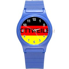 Rottweiler Name On Flag Round Plastic Sport Watch (S)