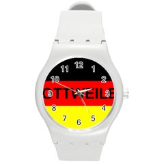 Rottweiler Name On Flag Round Plastic Sport Watch (M)