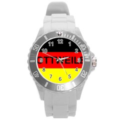 Rottweiler Name On Flag Round Plastic Sport Watch (L)