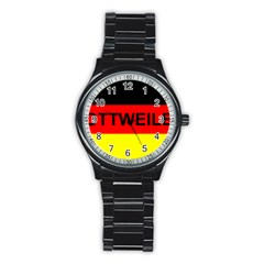 Rottweiler Name On Flag Stainless Steel Round Watch