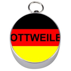 Rottweiler Name On Flag Silver Compasses