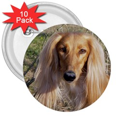 Saluki 3  Buttons (10 pack)