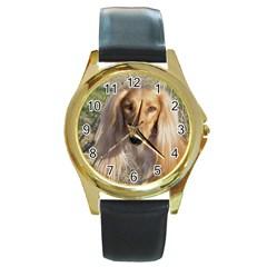Saluki Round Gold Metal Watch