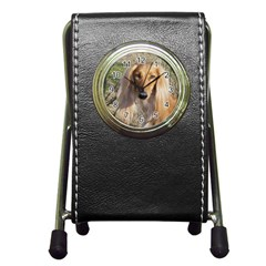 Saluki Pen Holder Desk Clocks