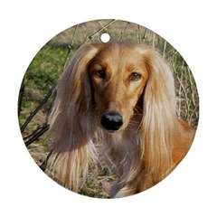 Saluki Round Ornament (Two Sides)