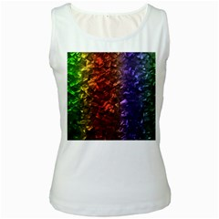 Multi Color Magical Unicorn Rainbow Shimmering Mother of Pearl Women s White Tank Top