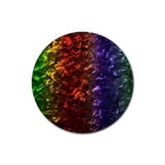 Multi Color Magical Unicorn Rainbow Shimmering Mother of Pearl Rubber Round Coaster (4 pack)