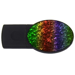 Multi Color Magical Unicorn Rainbow Shimmering Mother of Pearl USB Flash Drive Oval (1 GB)