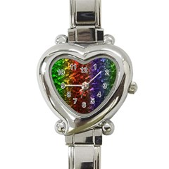 Multi Color Magical Unicorn Rainbow Shimmering Mother of Pearl Heart Italian Charm Watch