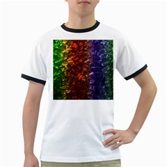 Multi Color Magical Unicorn Rainbow Shimmering Mother of Pearl Ringer T-Shirts