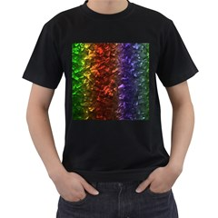 Multi Color Magical Unicorn Rainbow Shimmering Mother of Pearl Men s T-Shirt (Black) (Two Sided)