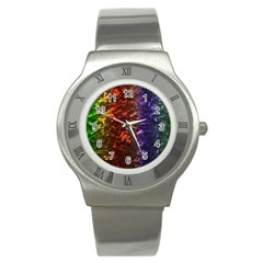 Multi Color Magical Unicorn Rainbow Shimmering Mother of Pearl Stainless Steel Watch
