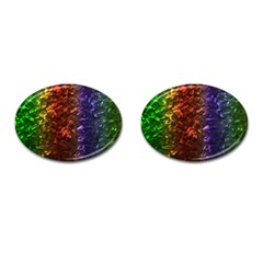 Multi Color Magical Unicorn Rainbow Shimmering Mother of Pearl Cufflinks (Oval)