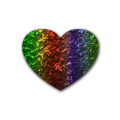 Multi Color Magical Unicorn Rainbow Shimmering Mother of Pearl Heart Coaster (4 pack)