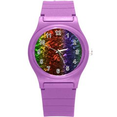 Multi Color Magical Unicorn Rainbow Shimmering Mother of Pearl Round Plastic Sport Watch (S)