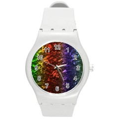 Multi Color Magical Unicorn Rainbow Shimmering Mother of Pearl Round Plastic Sport Watch (M)