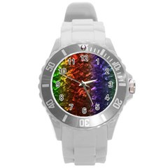 Multi Color Magical Unicorn Rainbow Shimmering Mother of Pearl Round Plastic Sport Watch (L)