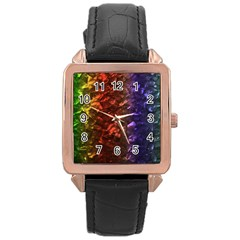 Multi Color Magical Unicorn Rainbow Shimmering Mother of Pearl Rose Gold Leather Watch