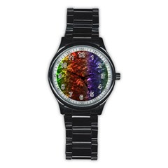 Multi Color Magical Unicorn Rainbow Shimmering Mother of Pearl Stainless Steel Round Watch