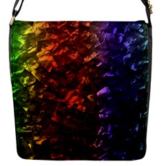 Multi Color Magical Unicorn Rainbow Shimmering Mother of Pearl Flap Messenger Bag (S)