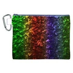 Multi Color Magical Unicorn Rainbow Shimmering Mother of Pearl Canvas Cosmetic Bag (XXL)